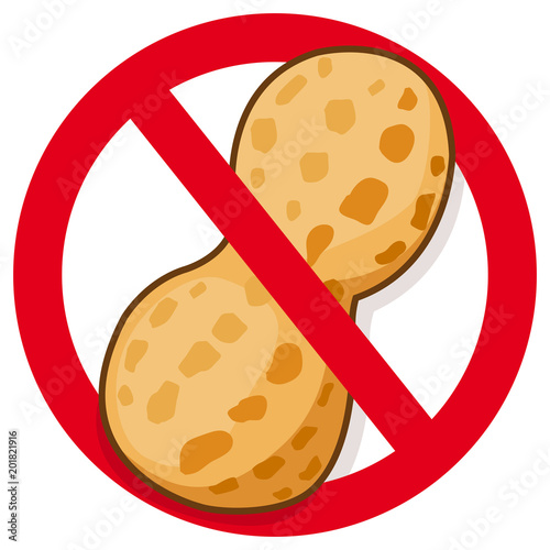 Peanut In Red Prohibition Sign Vector Symbol Promoting Peanut Free