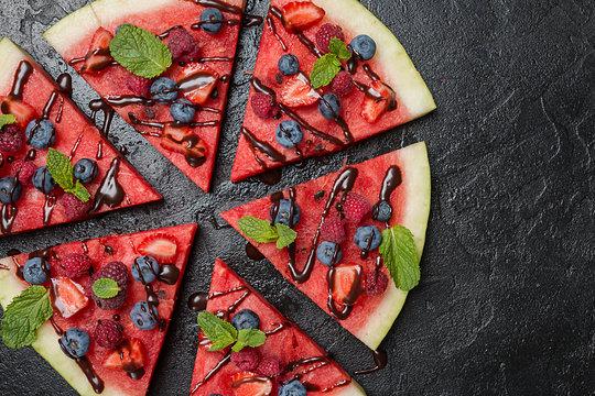 colorful watermelon pizza
