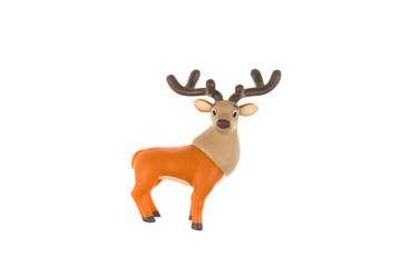 toy reindeer on white background