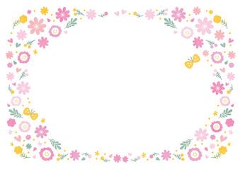 花 水彩 フレーム ピンク