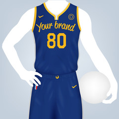 Vector illustration of basketball team kit template