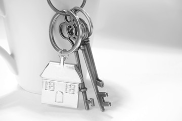Home keys with house keyring hanging on white coffee cup