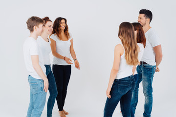 Group of university students standing chatting