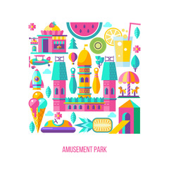 Amusement park. Vector clipart.
