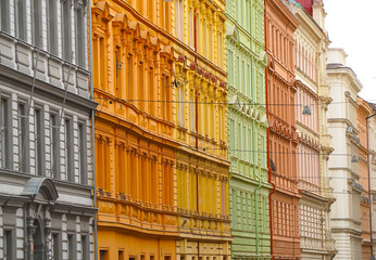Prague, Czech Republic. Facades of the buildings of the city center with different colors