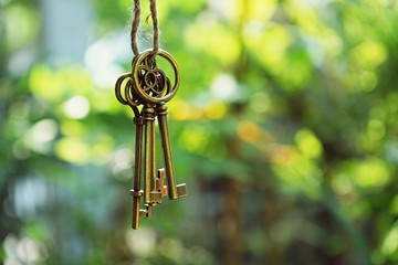 Home key with house keyring hanging with blur garden background