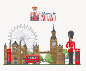 England travel vector illustration. Vacation in United Kingdom. Great Britain background. Journey to the UK.