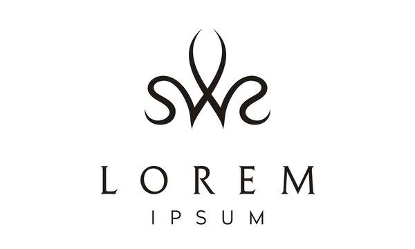 Crown Queen Monogram SWS Initial logo design inspiration