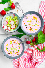 Cold radish and cucumber soup