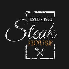 Steak house logo design on dark background eps 10 vector illustration
