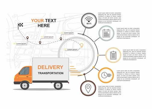 Orange Cargo Delivery Business infographic with transport