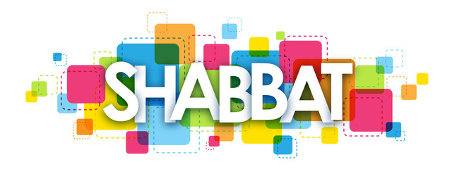 SHABBAT colourful letters icon