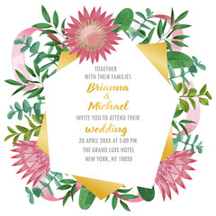 Wedding Invitation with Protea and Greenery