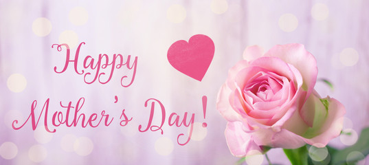 Happy Mothers Day  --  Greeting Card with pink rose and heart