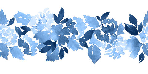 Seamless watercolor floral border pattern. Dahlia flowers painting in indigo blue