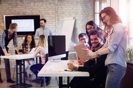 Startup Teamwork Brainstorming Meeting concept in office