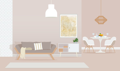 Living room with decorations, white and beige furniture.