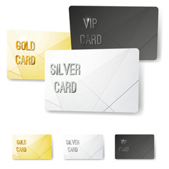 Gold silver platinum VIP membership cards collection with crystal line pattern