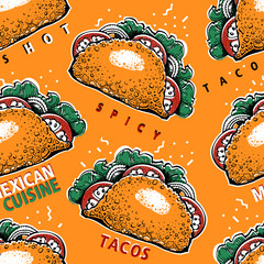 Seamless pattern with tako. Mexican food background. Traditional mexican cuisine. Vector hand drawn illustration. Can be use for fast food, snack and takeaway menu and banner. Retro style.