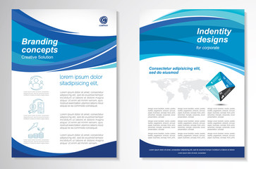Template vector design for Brochure, AnnualReport, Magazine, Poster, Corporate Presentation, Portfolio, Flyer, infographic, layout modern with blue color size A4, Front and back.