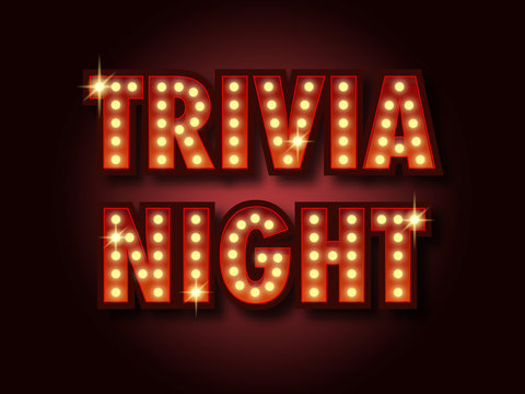 Trivia night announcement poster. Vintage styled light bulb box letters shining on dark background.Vector illustration, glowing electric sign in retro style