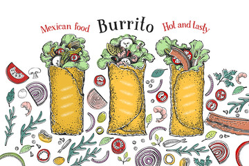 Burrito set. Mexican food. Traditional mexican cuisine. Banner template. Vector hand drawn Illustration. Can be use for fast food, snack and takeaway menu and banner. Retro style.