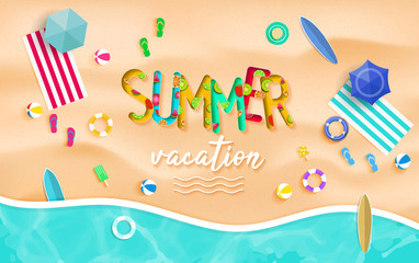 Summer vacation background vector. Top view summer background vector in beach with umbrellas, balls, swim ring, sunglasses, surfboard, hat, sandals, juice, starfish and sea.