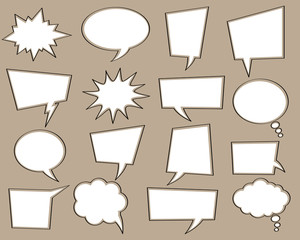 Comic speech white bubble set without text (empty). Vector cartoon explosions for different emotions isolated on background.