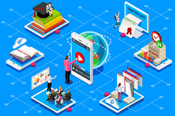 Education conference and meeting web certificate on isometric device. Education illustration for banner, infographics, hero images. Flat isometric vector illustration isolated on blue background.