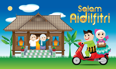 "A couple is just arrive their home town, ready to celebrate Raya festival with their parents. The words ""Salam Aidilfitri"" means happy Hari Raya."