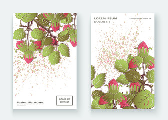 Strawberry pattern design templates product. Hand drawn red berry. Cute trendy  background blossom greenery bush. Graphic illustration wedding, invitation, poster, card, cover, product vector
