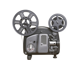 isolated 8mm film projector