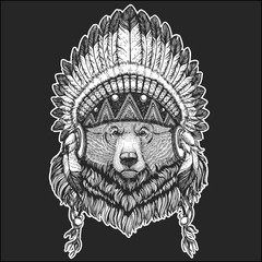 Big wild grizzly bear Cool animal wearing native american indian headdress with feathers Boho chic style Hand drawn image for tattoo, emblem, badge, logo, patch