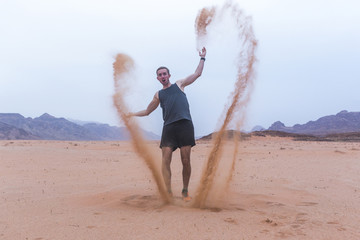 Tourist in Wadi Rum Desert, Jordan