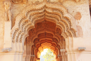 Lotus Mahal Temple in Hampi, Karnataka, India.Beautiful carved stone arch and sunset. A popular tourist route from the GOA state. Beautiful hindu temple Wall mural