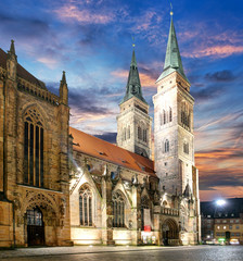 Nuremberg - St. Lawrence church at sunset, Germany