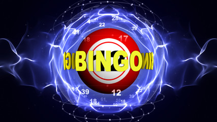 BINGO Text Animation Around the Bingo Ball, Rendering, Background