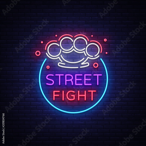 Street fight logo in neon style  Fight Club neon sign  Logo