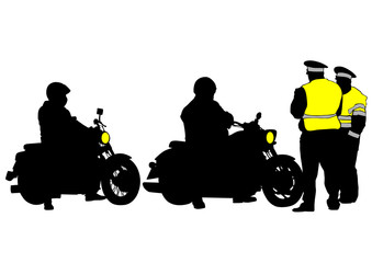 Wall Mural - Old retro bike and traffic police on white background