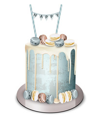Happy birthday cake Vector realistic. White chocolate frosting and macaroons. Anniversary, wedding, ceremony modern desserts