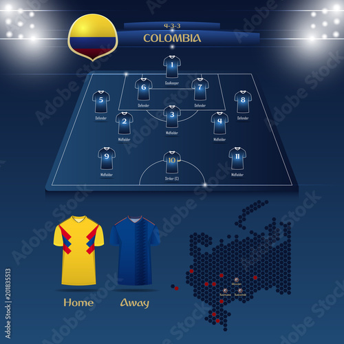 Team Colombia soccer jersey or football kit with match formation tactic  infographic. Football player position on football pitch and stadium map.  Vector ... b0becbf83