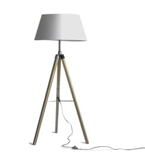 Tripod Floor Lamp with three wooden legs and trailing switch cable
