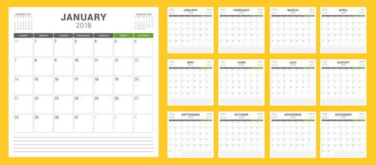 Calendar planner for 2018 year. Week starts on Sunday. Vector design print template