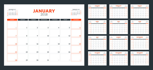 Calendar planner for 2018 year. Week starts on Sunday. Vector design print template