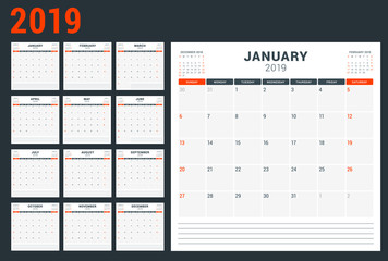 Calendar planner for 2019 year. Week starts on Sunday. Printable vector stationery design template
