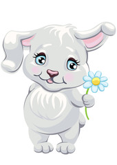Child illustration with a cute rabbit holding a daisy flower. Vector cartoon character a hare. Easter bunny.