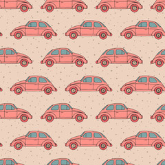 Hand drawn vector seamless pattern with retro cars on the beige polka dot background. Vintage design.