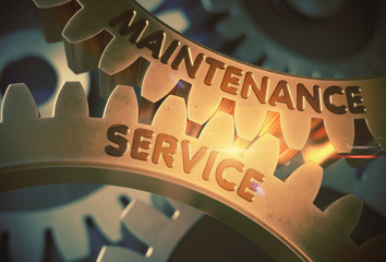 Maintenance Service on the Golden Gears. 3D Illustration.