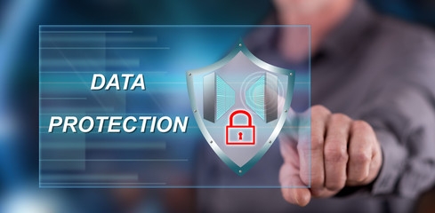 Man touching a data protection concept