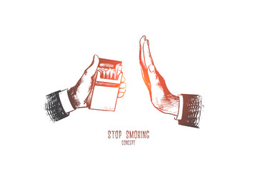 Stop smoking concept. Hand drawn person's hand reject cigarette. Cigarette pack in hand, gesture to reject proposal smoke isolated vector illustration.